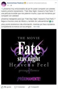 Konnichiwa Festival será la encargada de traer Fate Stay Night: Heaven's Feel Parte 1