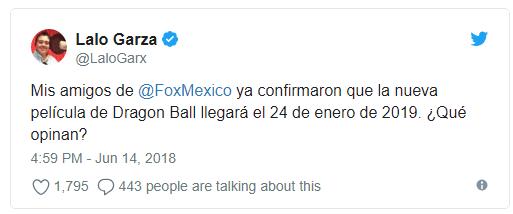 Anuncio de Lalo Garza sobre el estreno en México