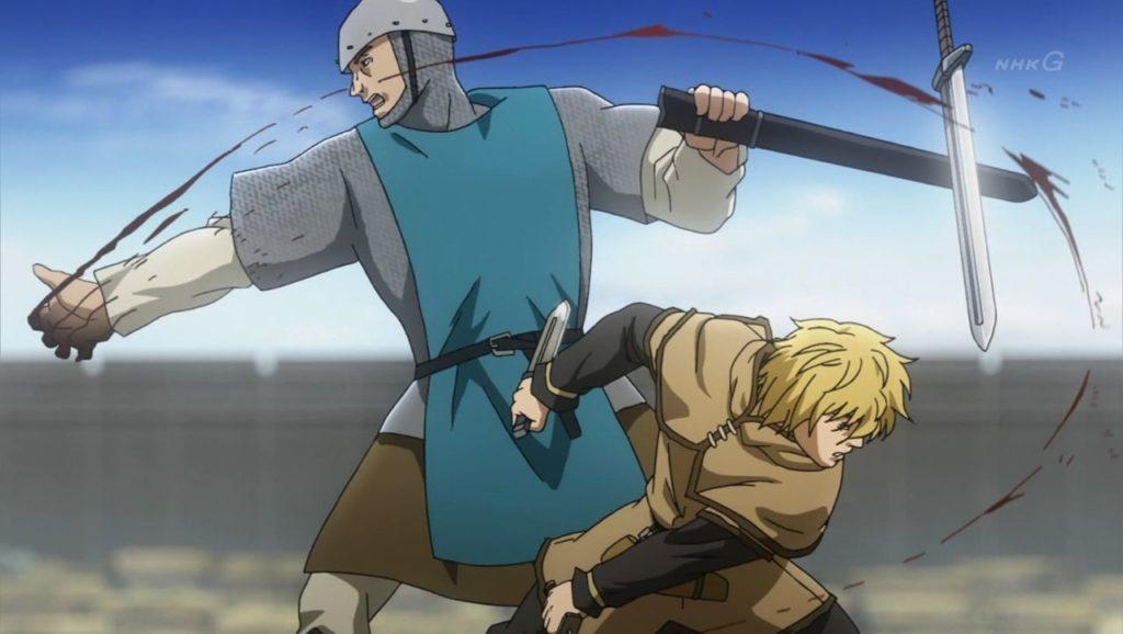 Thorfinn peleando en la guerra